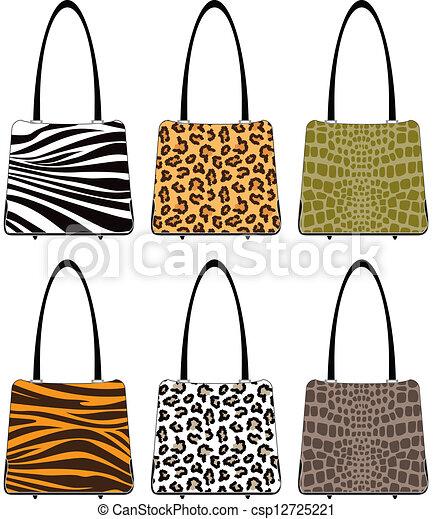 animal skin handbags handbags in various prints tiger leopard rh canstockphoto com Leopard Cartoon Clip Art Leopard Black and White Clip Art