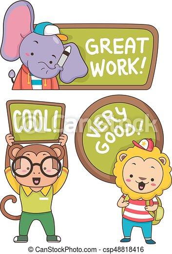 animal student compliments labels illustration