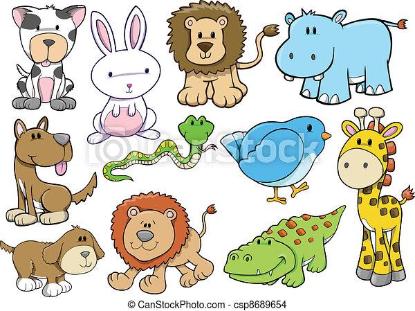 Animal Wildlife Safari Vector Set - csp8689654