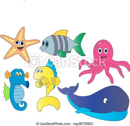 Animales, caricatura, mar. O, iconos, animales, aislado, mar, peces ...