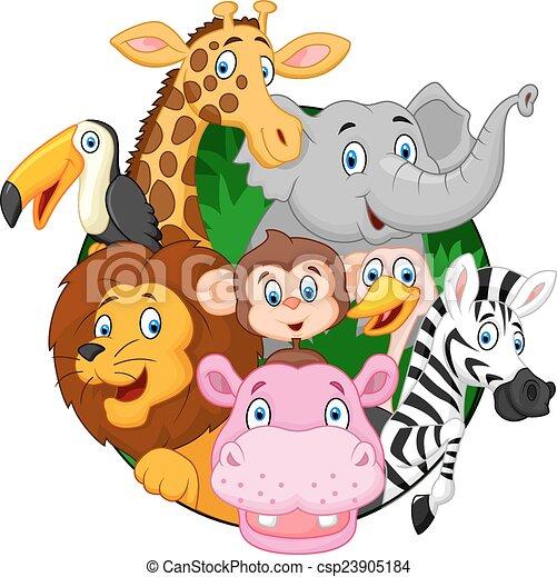 Animales de safari de dibujos animados - csp23905184