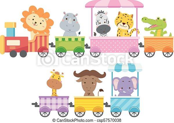 Los animales del zoológico ilustran el colorido del tren - csp57570038