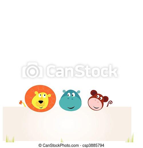 Lindos animales safari sosteniendo estandarte - csp3885794