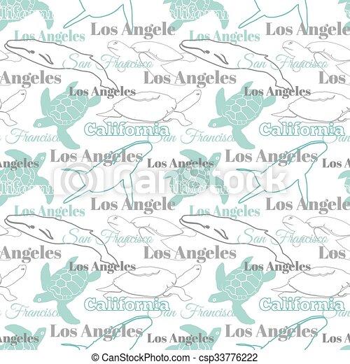 Animales, luz, viaje, seamless, vector, california, patrón, ciudades ...