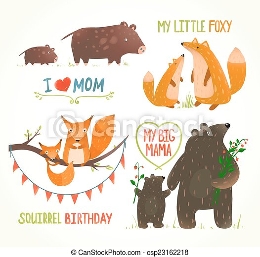 Animales, padre, bebé, cumpleaños, bosque, tarjetas, fiesta ...