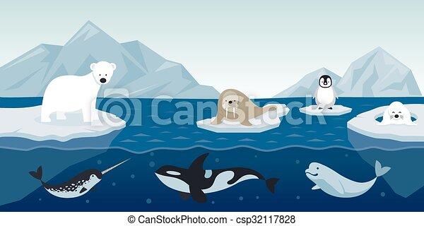 Animali artico carattere fondo fauna natura inverno - Animali in inverno clipart ...