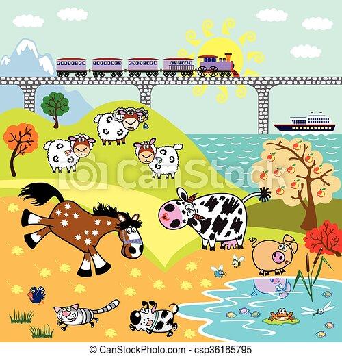 Animali fattoria bambini illustrazione ponte animali for Piani di fattoria stonegate
