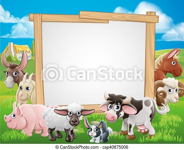 animali, fattoria, cartone animato, segno - csp40875006