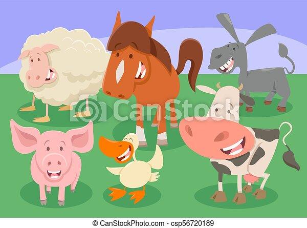 Animali fattoria gruppo cartone animato illustrazione carino