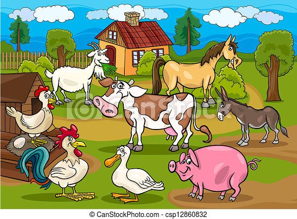 animali, fattoria, scena, illustrazione, rurale, cartone animato - csp12860832