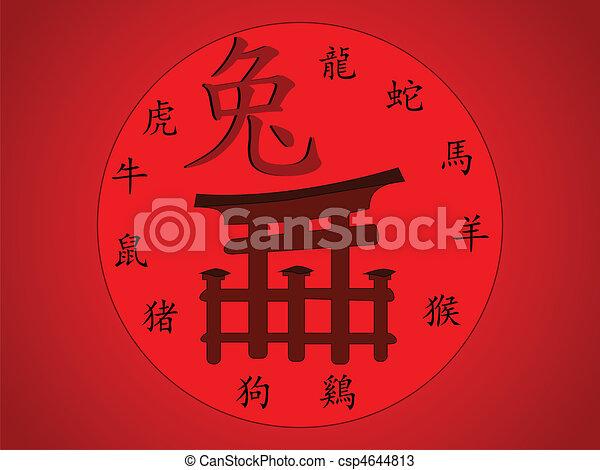 Calendario Giapponese Animali.Animali Giapponese Tradizionale Significato Vettore Torii Geroglifici Cancello Calendario Chiamato