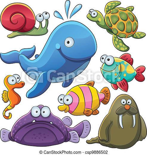 animali, mare, collezione - csp9886502
