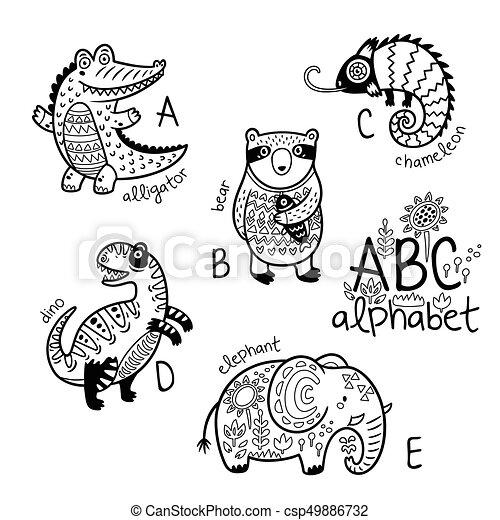 Vectors Of Animals Alphabet A