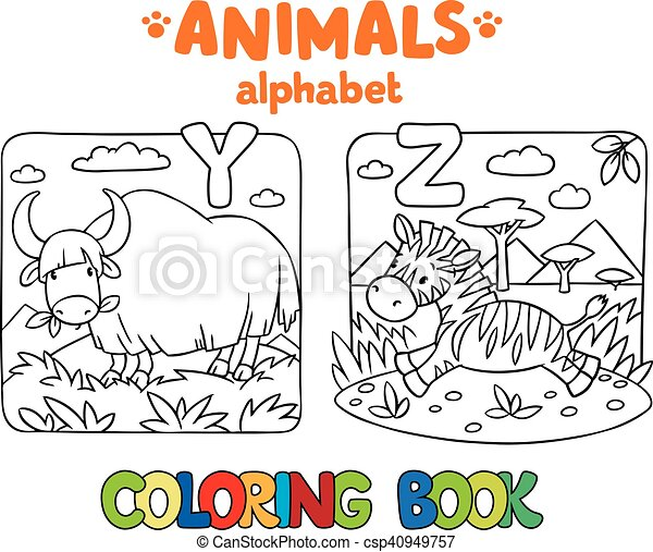 Animals alphabet or abc. coloring book. Coloring book or coloring ...