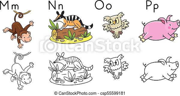 Animals alphabet or abc. coloring book. Coloring book or... vector ...