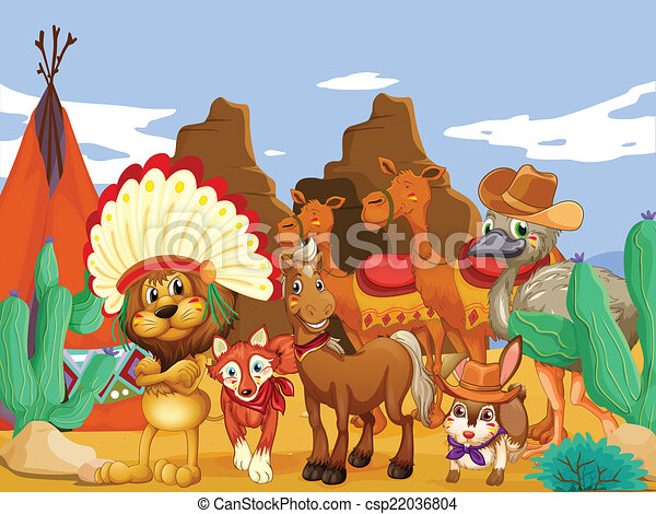 Line Drawing Of Desert Animals : Animals and desert. illustration of many in the vector