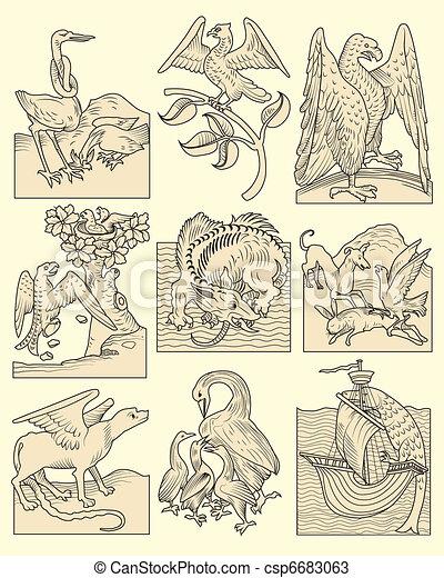 animals and medieval scenes - csp6683063