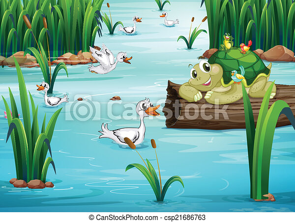 animals and pond illustration of many animals in a pond rh canstockphoto com clipart pond animals clipart panda