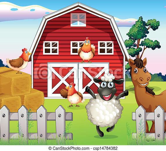 Animals at the farm with a barnhouse - csp14784382