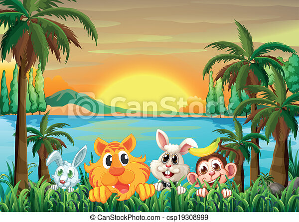 Animals at the riverbank with coconut trees - csp19308999