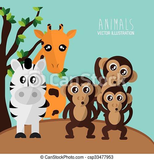 Animals cartoon design - csp33477953