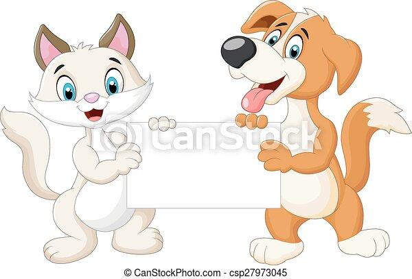 Animals cartoon holding of blank si - csp27973045