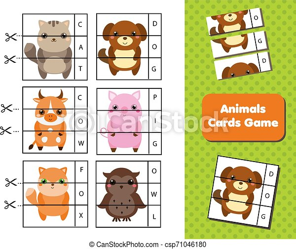 Animals Flash Cards Words And Vocabulary Educational Children Game Material For Kids And Toddlers Animals Flash Cards