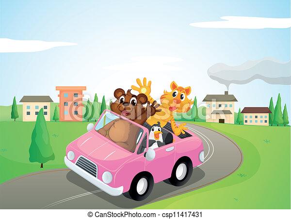 animals in a car - csp11417431