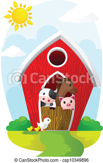 Animals in barn - csp10349896