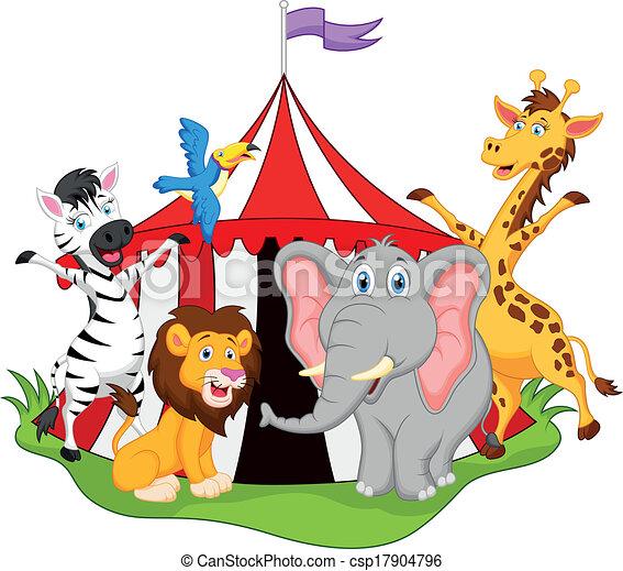 People And Circus Animals Cartoon Vector Clipart - FriendlyStock