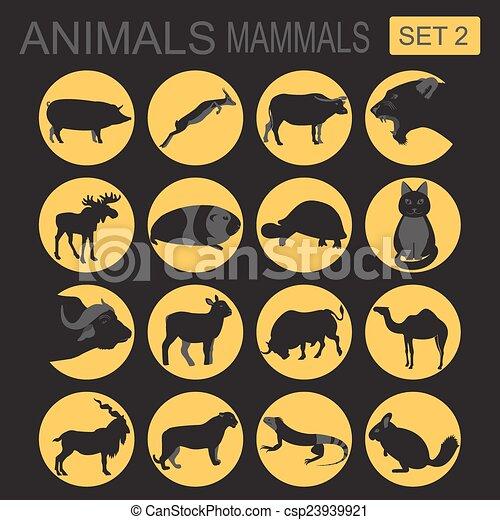 Animals mammals icon set. Vector - csp23939921