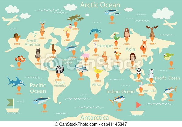 Animals map of the world world map for children animals poster animals map of the world world map for children animals poster continent animals marine life south america eurasia north america africa gumiabroncs Image collections