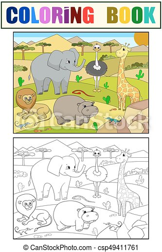 Animals of Africa savanna coloring vector for adults - csp49411761