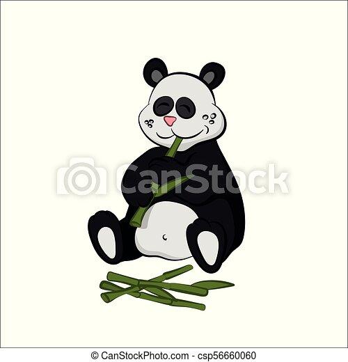 Animals of zoo. panda eating bamboo in cartoon style ...