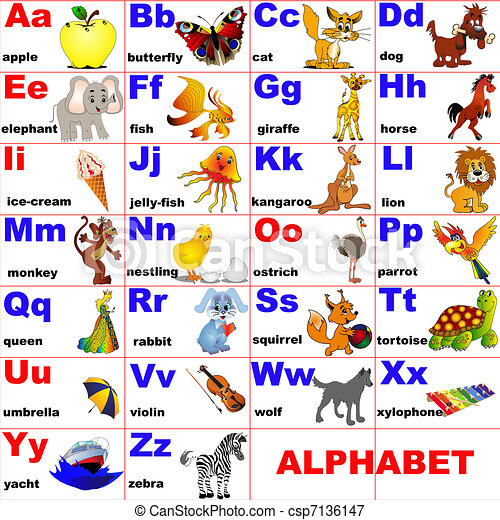 animals placed on letter of the alphabet - csp7136147