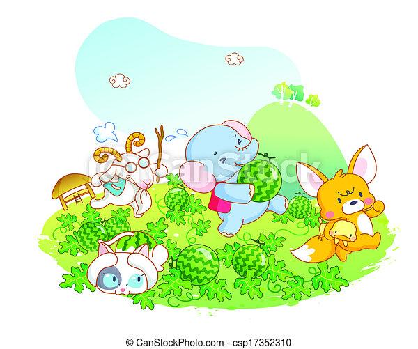 Animals Playing In The Garden   Csp17352310