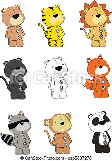animals plush cartoon set - csp5837278