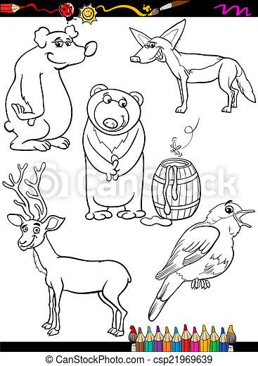 Animals Set Cartoon Coloring Page