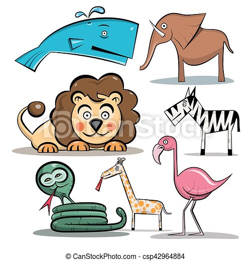 Animals Set. Vector Zoo Animal Isolated on White Background. - csp42964884