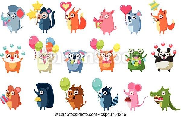 Animals With Party Elements Set - csp43754246