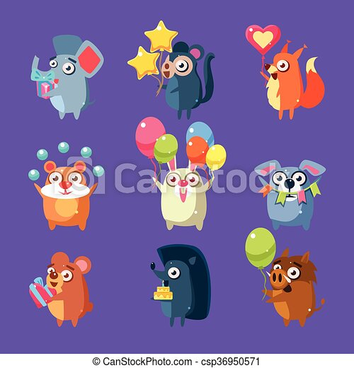 Animals With Party Elements Set - csp36950571