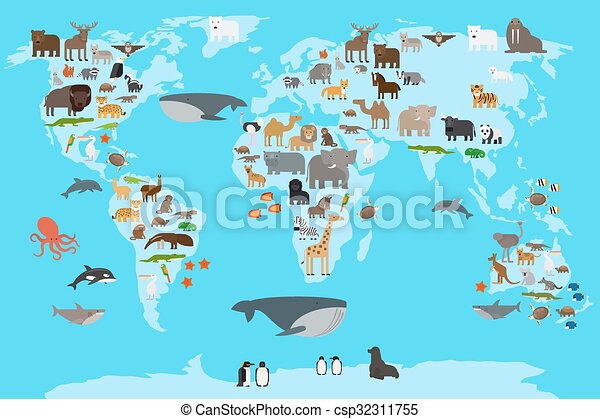 Animals World Map Animals Living In Different Parts Of The Planet