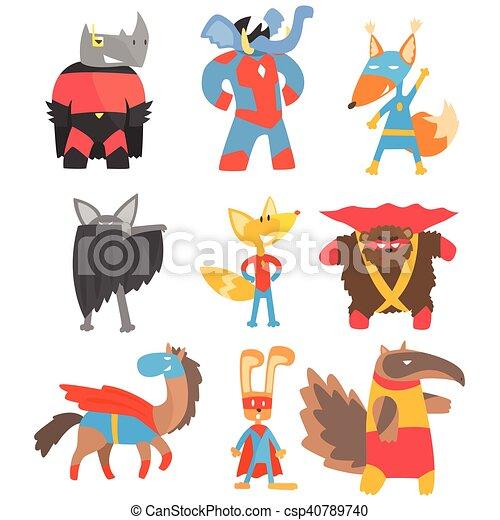Animas Disguised As Superheroes Set Of Geometric Style Stickers - csp40789740