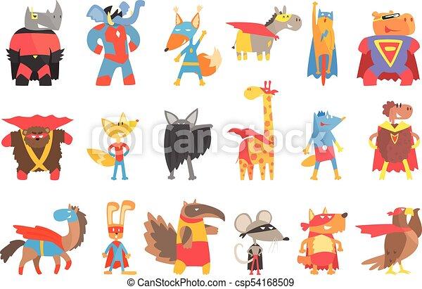 Animas Disguised As Superheroes Set Of Geometric Style Stickers - csp54168509
