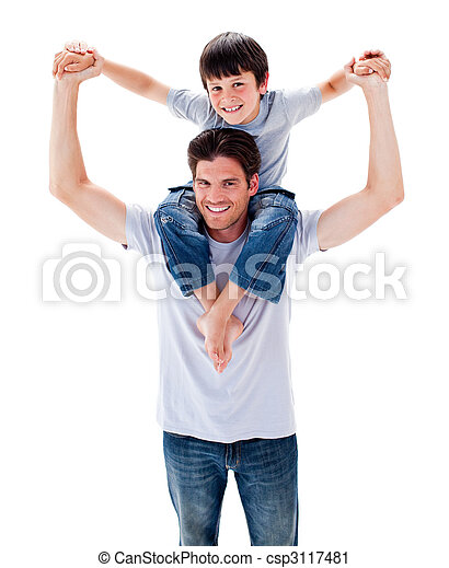 Animated father giving his son piggyback ride - csp3117481