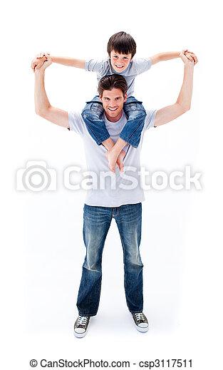 Animated father giving his son piggyback ride - csp3117511