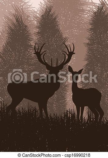 Animated rain deer in wild nature landscape illustration - csp16990218