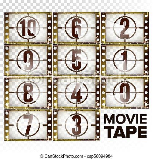 Cuenta regresiva número 10-0 vector. Desnuda de película grunge marrón monocromo. Elementos del cine. Comienza la película retro. Contando la animación del temporizador. Aislado en ilustración de fondo transparente - csp56094984
