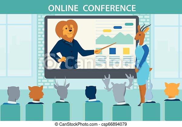 animaux, conférence, pendant, enseigner, ligne, entraîneur, lion - csp66894079