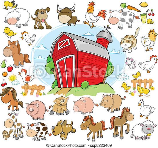animaux ferme, mettez stylique, vecteur - csp8223409